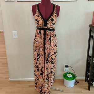 Pink and Black Maxi Dress
